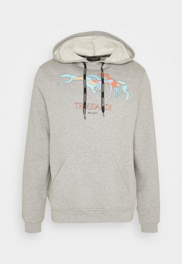 HOODIE BRUSHED FLEE - Sweater - mottled grey/light blue