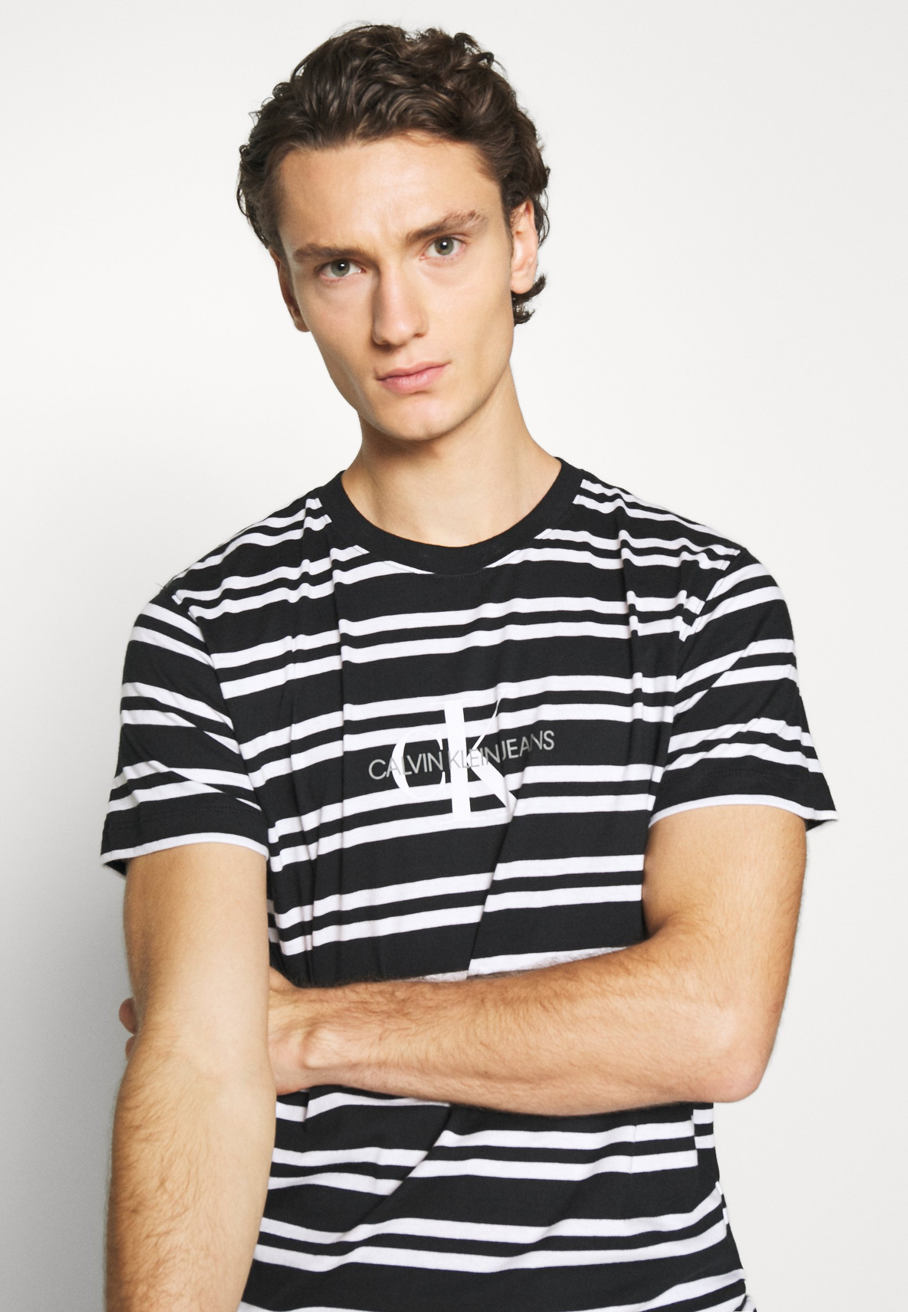 Calvin Klein Jeans Striped Center Logo Tee - T-shirt Z Nadrukiem Black
