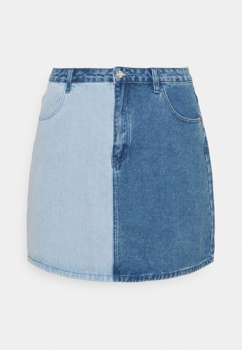 Missguided Plus - SPLICED SKIRT - Minirok - blue