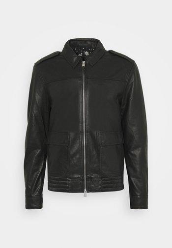 MACK AVIATOR - Leather jacket - black