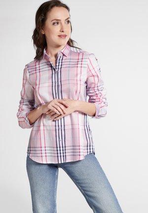 Button-down blouse - pink/blue/white