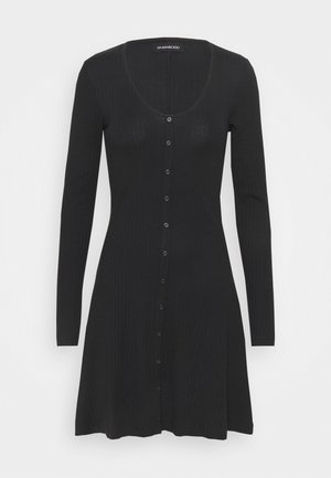 Ribbed button through mini dress - Pletené šaty - black