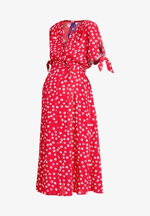 BESSIE MIDI WRAP DRESS - Vestido informal - red