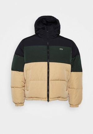 Down jacket - dark blue/dark green/sand