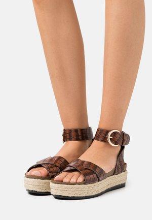 ONLMAUVE WRAP  - Platform sandals - brown