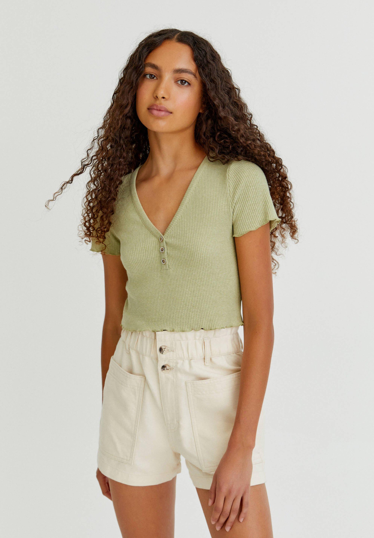 Damen GERIPPTES CROPPED-SHIRT MIT KNÖPFEN - T-Shirt basic