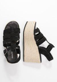 Even&Odd - WEDGE  LEATHER - High heeled sandals - black - 3