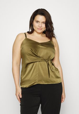 KNOT FRONT HAMMERED - Top - khaki
