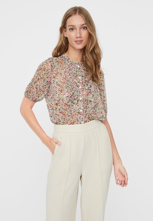 MIT 3/4 ÄRMELN PRINT - Button-down blouse - birch