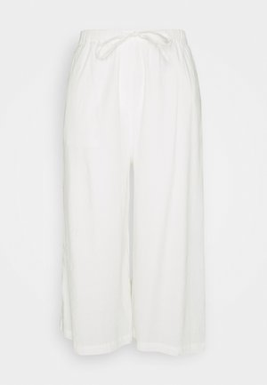 PANTS CULOTTE STYLE WIDE LEG DETAILED WAISTBAND - Trousers - white
