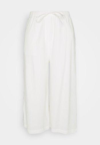 PANTS CULOTTE STYLE WIDE LEG DETAILED WAISTBAND - Kalhoty - white