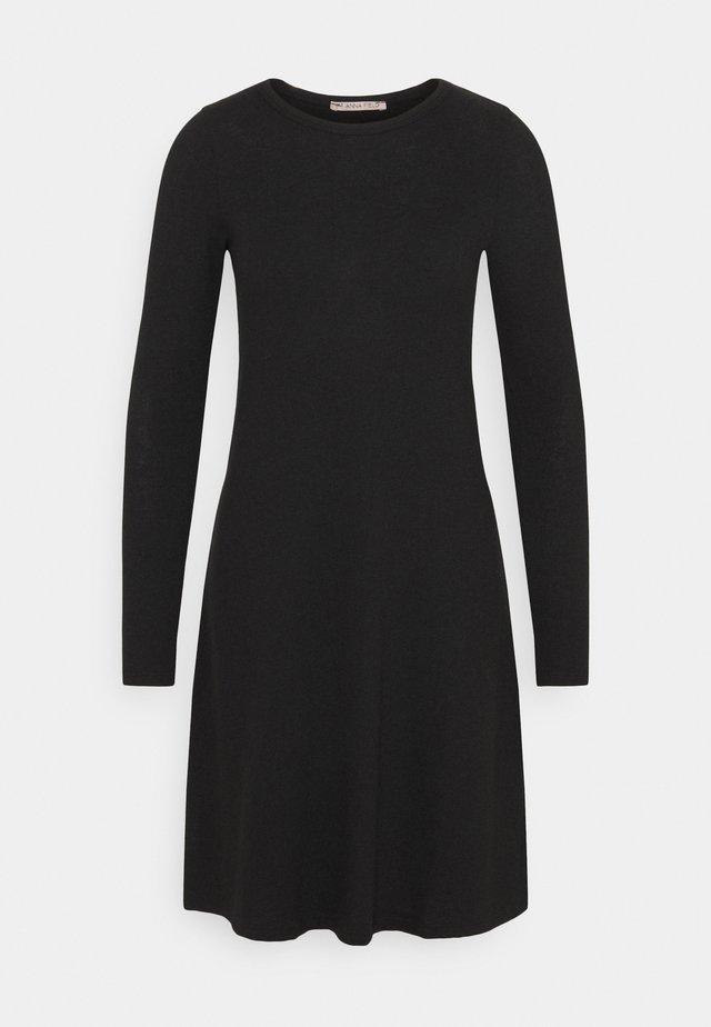 JERSEY EASY LOOSE LONGSLEEVE DRESS - Jumper dress - black