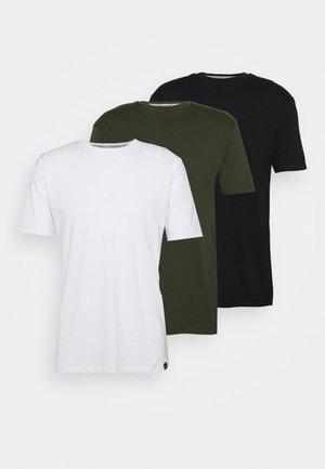 CORE 3 PACK - Basic T-shirt - khaki, black, white
