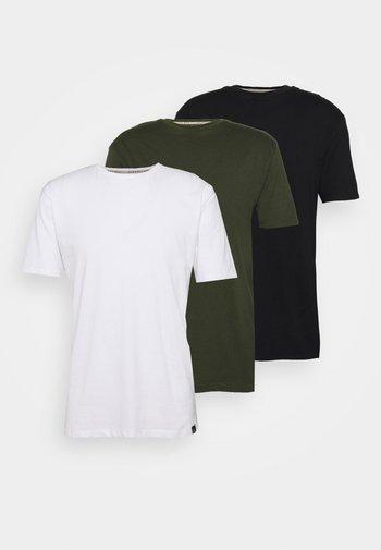 CORE 3 PACK - Jednoduché triko - khaki, black, white