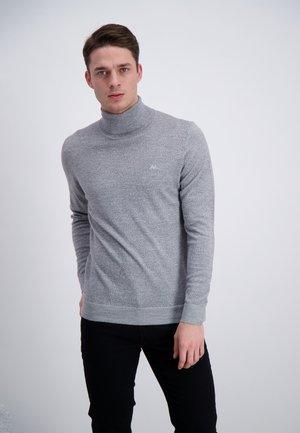 Stickad tröja - dk grey mix