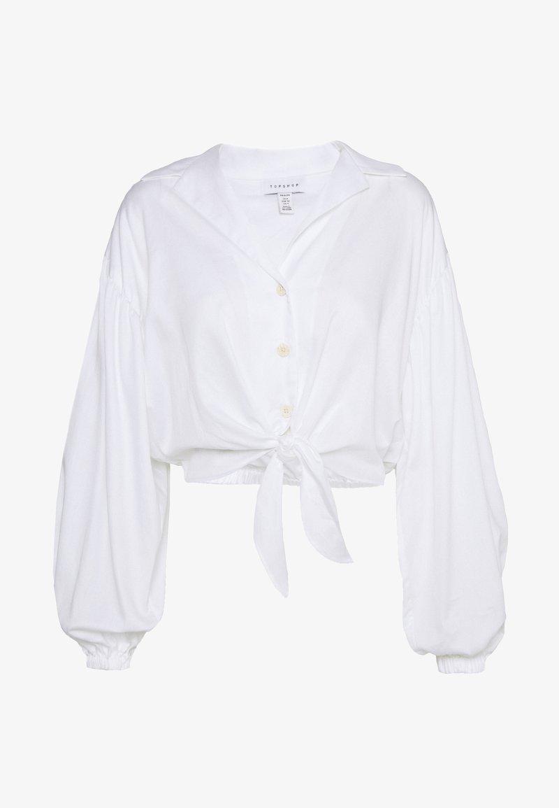 Topshop Petite - TIE FRONT - Blouse - white