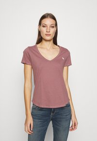 Abercrombie & Fitch - VNECK 3 PACK - Basic T-shirt - white/rose taupe/shadow - 5