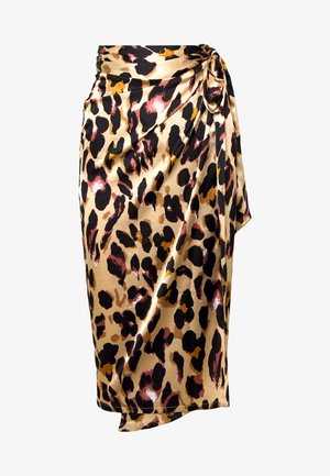 JASPRE WRAP MIDI SKIRT - Falda cruzada - brown