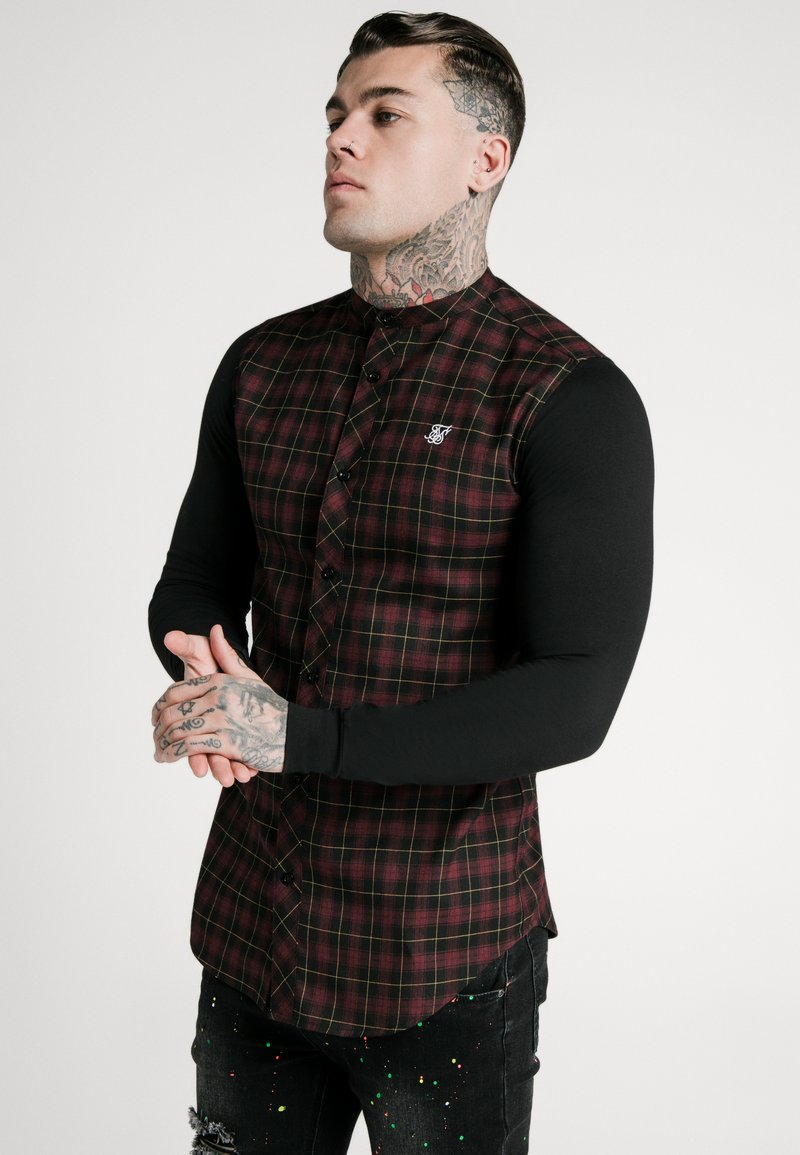 SIKSILK - CHECK GRANDAD - Camicia - burgundy/black
