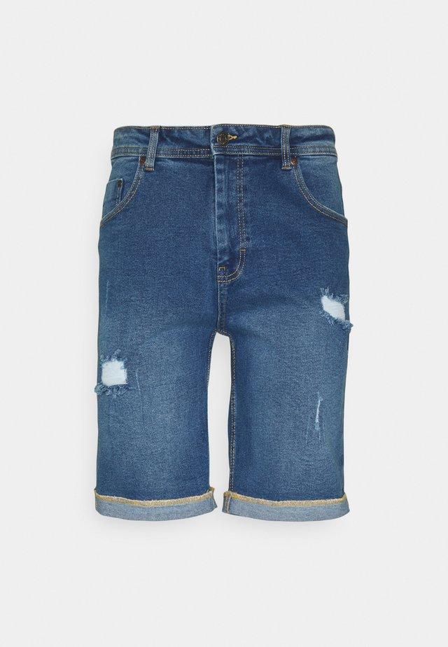 MR ORANGE - Denim shorts - medium blue destroy