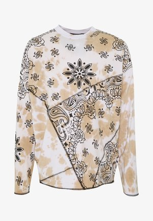 CUT AND SEW CHECKERED PAISLEY - Long sleeved top - white