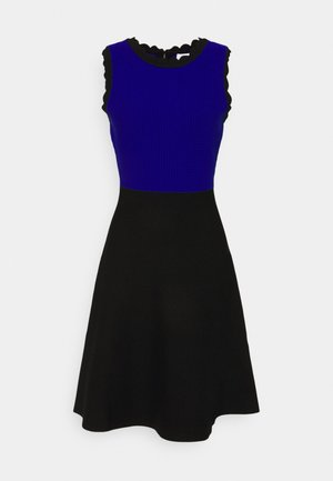 SCALLOPED COLORBLOCK - Jumper dress - black/azure