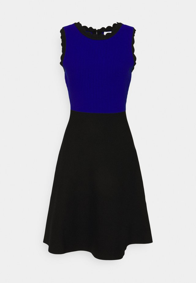 SCALLOPED COLORBLOCK - Sukienka dzianinowa - black/azure