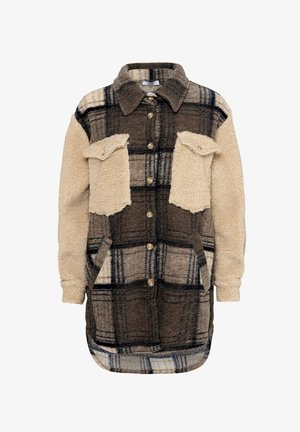 VALLEY - Short coat - beige slash checked