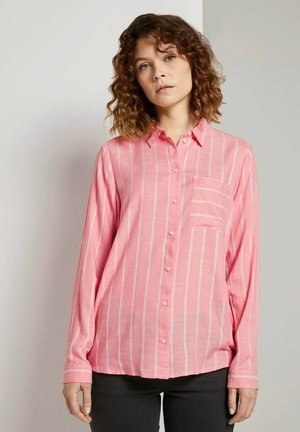 BLOUSE WITH STRUCTURED STRIPE - Button-down blouse - peach stripe vertical