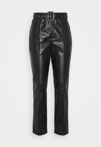 BELTED SEAM DETAIL TROUSER - Kalhoty - black