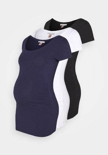 3 PACK - T-shirts - white/dark blue/black