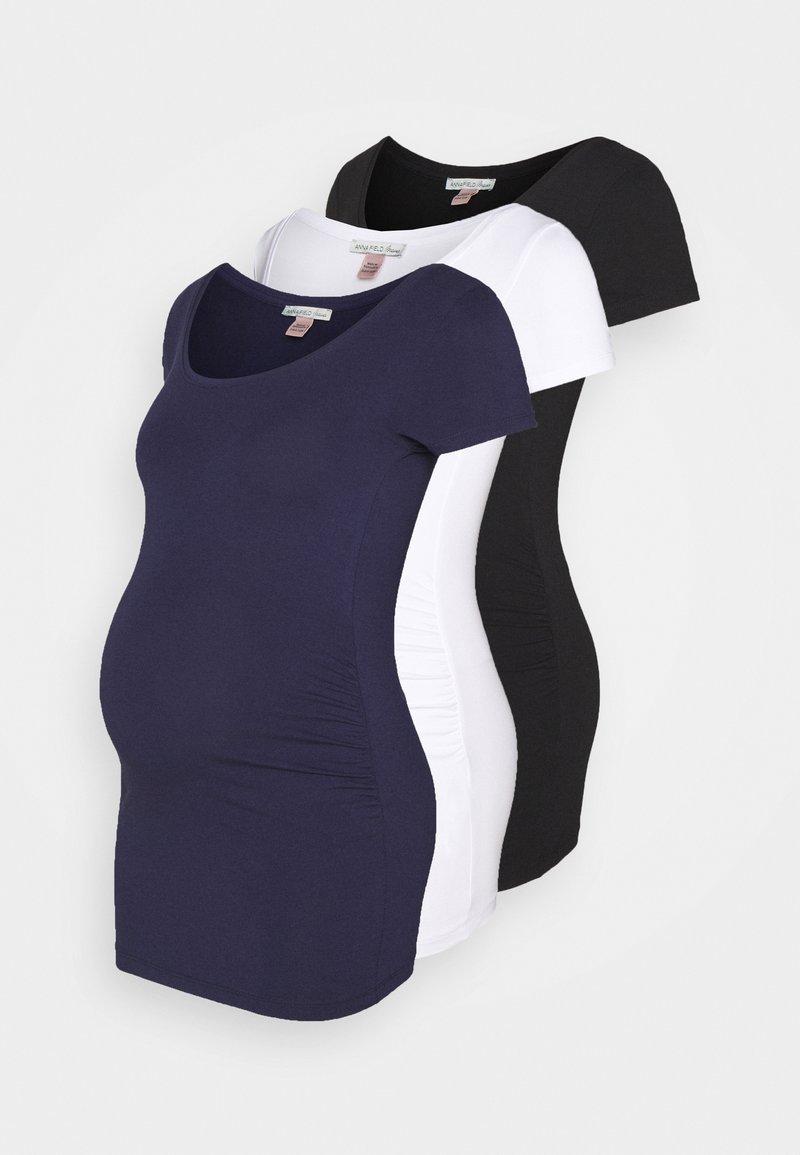 Anna Field MAMA - 3 PACK - T-shirt basic - white/dark blue/black