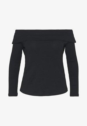 FOLD OVER BARDOT - Long sleeved top - black