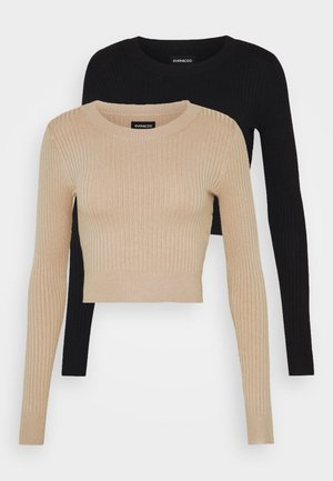 2 PACK- CROPPED JUMPER - Stickad tröja - black/sand