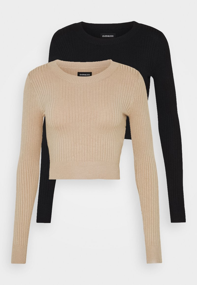 Even&Odd - 2 PACK- CROPPED JUMPER - Strikpullover /Striktrøjer - black/sand