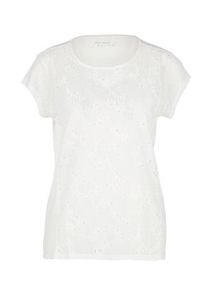 MIT LOCHSTICKEREI - Basic T-shirt - cream