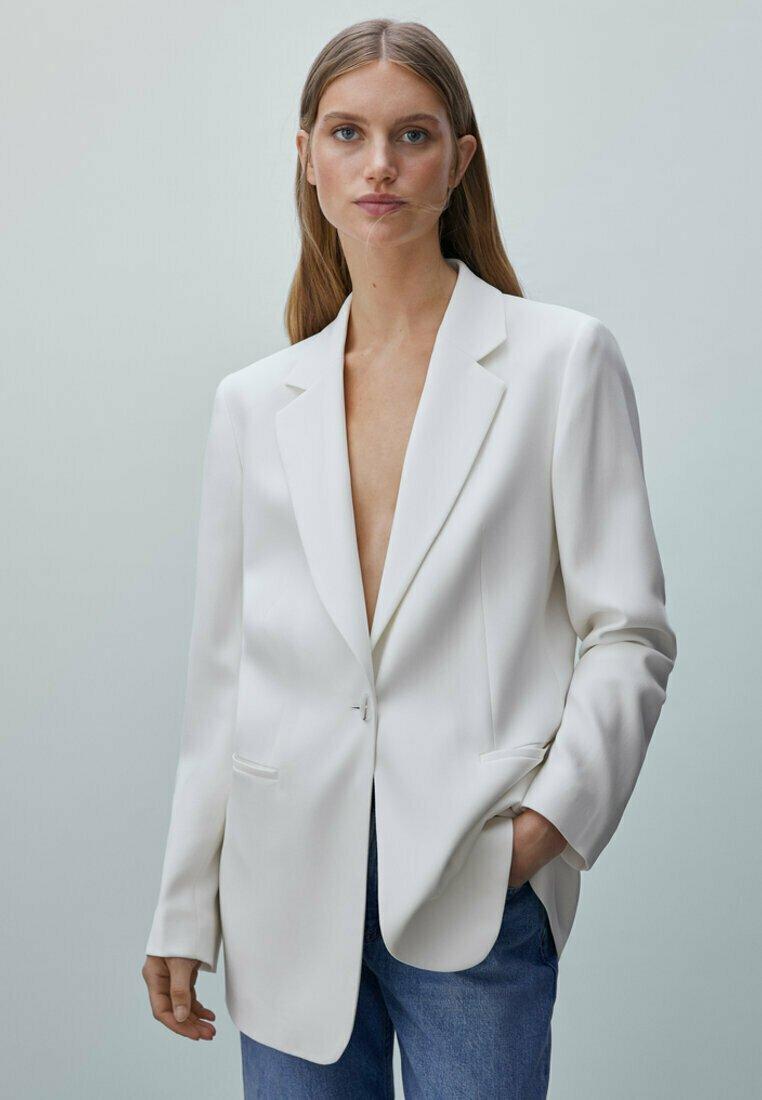 Massimo Dutti - MIT GÜRTEL  - Short coat - white
