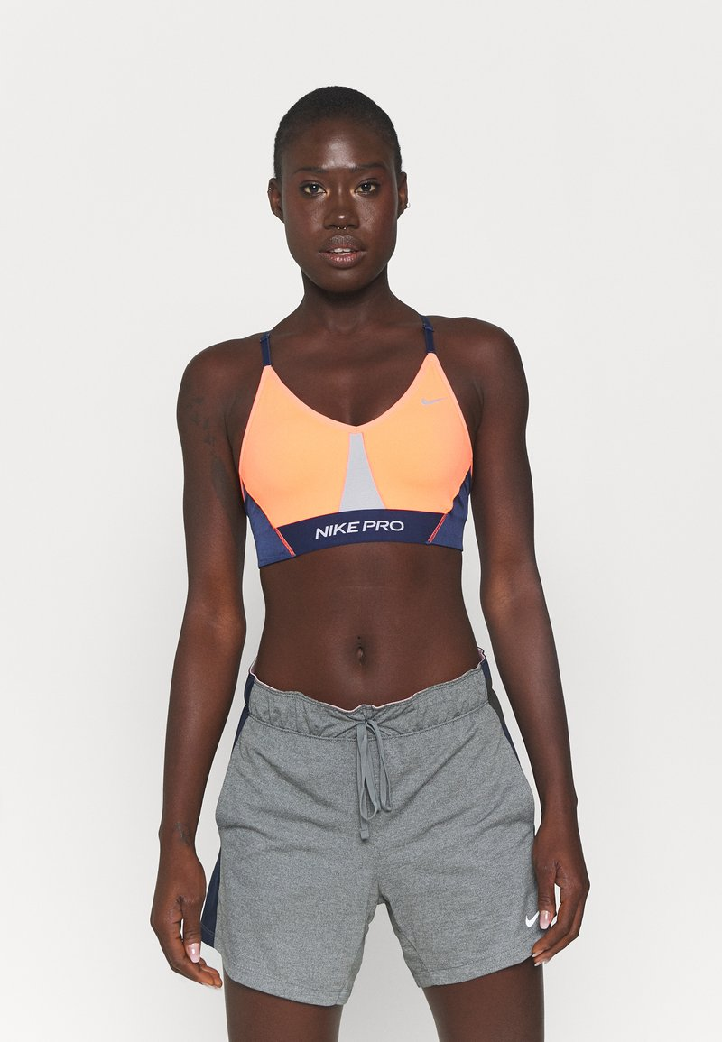 Nike Performance - INDY PRO BRA - Light support sports bra - bright mango/white/midnight navy/metallic silver