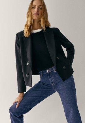 MIT HALBHOHEM BUND  - Slim fit jeans - blue