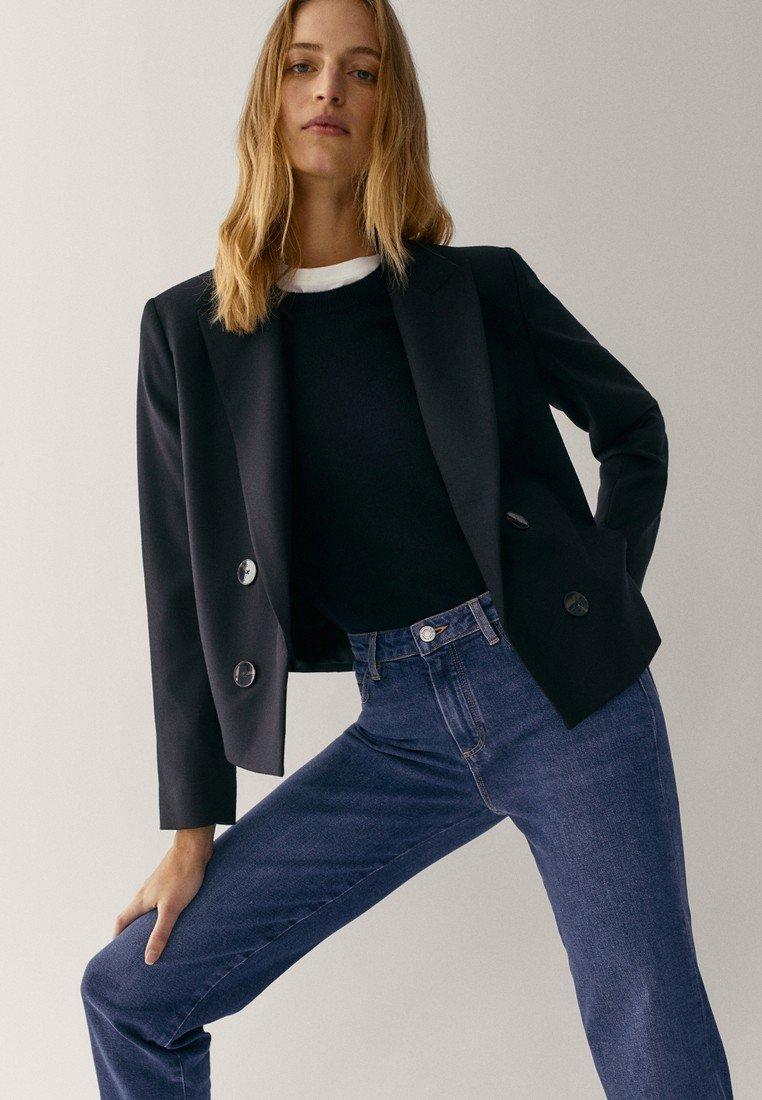 Massimo Dutti - MIT HALBHOHEM BUND  - Slim fit jeans - blue