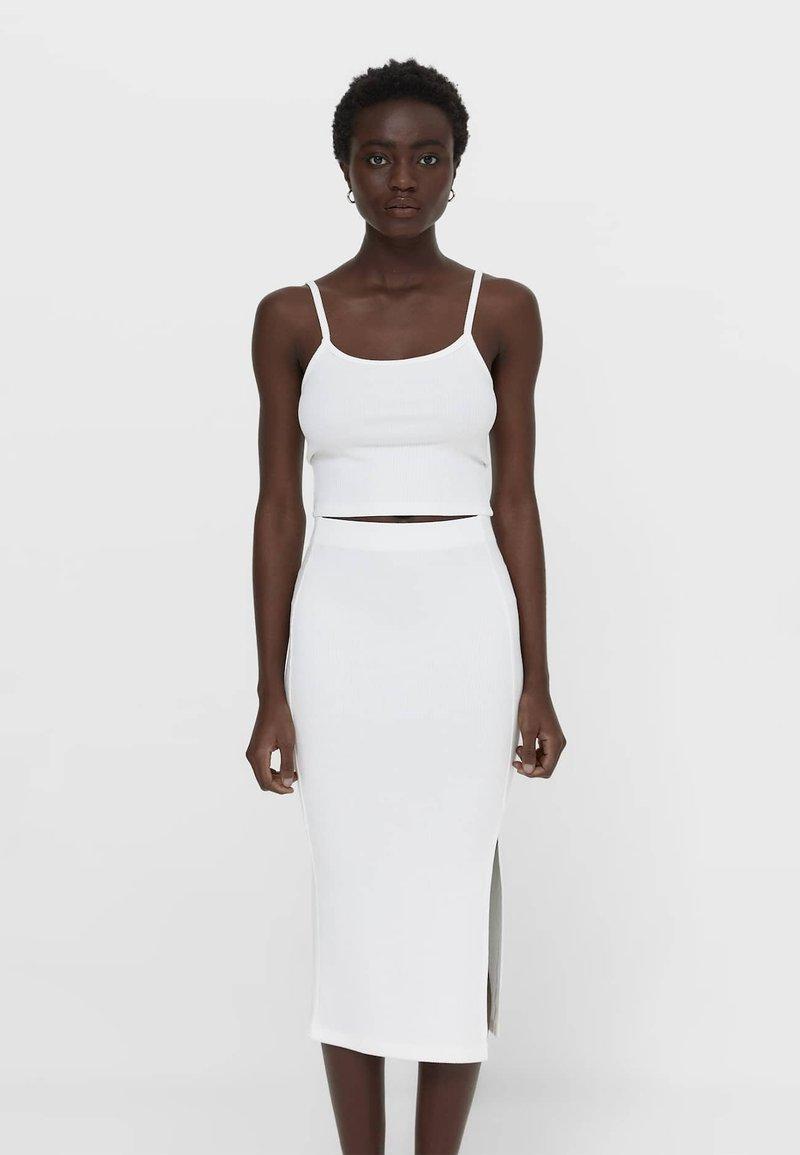 Stradivarius - Pencil skirt - white