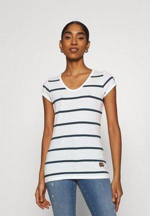 CORE EYBEN SLIM - Basic T-shirt - milk/vintage navy