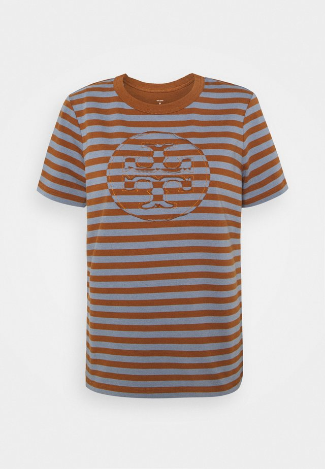 STRIPED LOGO  - Print T-shirt - brown