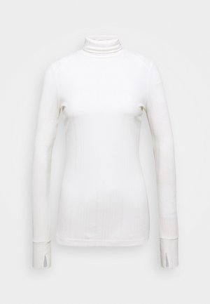 TURTLENECK  LONGSLEEVE FITTED IRREGULAR STRUCTURE - Long sleeved top - clear white