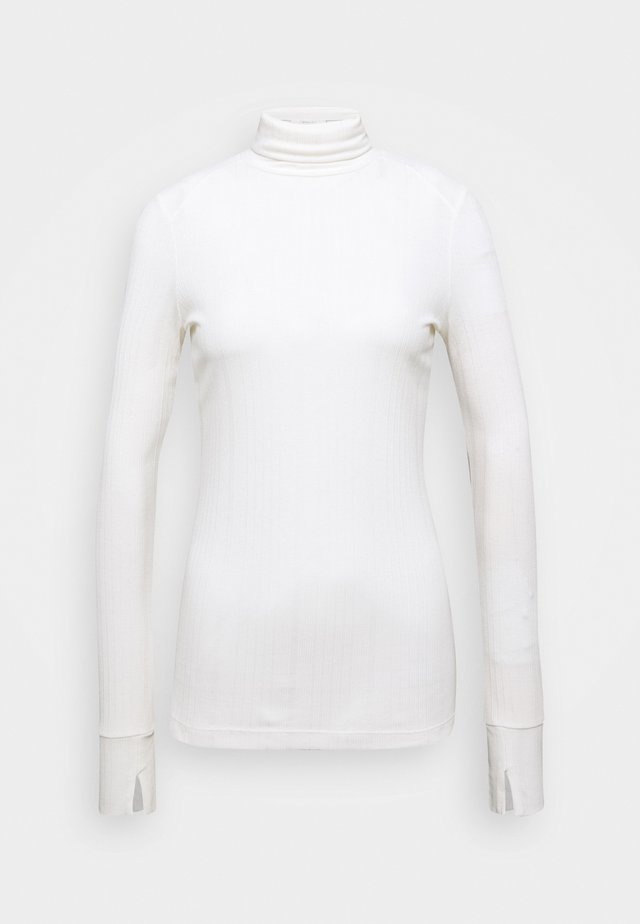 TURTLENECK  LONGSLEEVE FITTED IRREGULAR STRUCTURE - Top s dlouhým rukávem - clear white