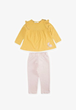 SET - Pantaloni sportivi - mustard yellow/light pink
