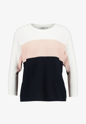 ONLREGITZE - Pullover - cloud dancer/cameo rose/sky capt
