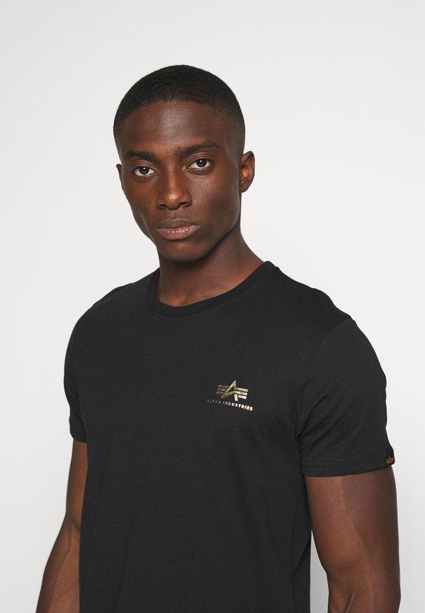 Alpha Industries BASIC SMALL LOGO FOIL PRINT - T-shirt basic - black/yellow gold/czarny Odzież Męska EJER