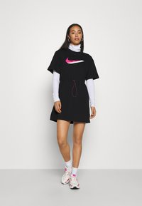 Nike Sportswear - DRESS - Jersey dress - black/white - 1