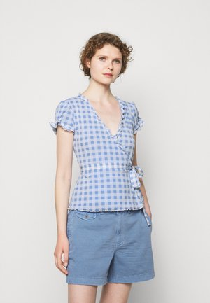 Print T-shirt - blue/white gingha